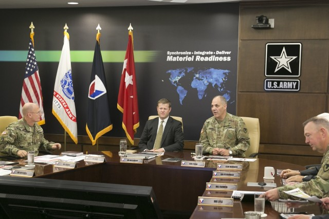 Acting Secretary of the Army Hon. Ryan D. McCarthy receives an update brief on strategic and operational readiness from Gen. Gus Perna, Army Materiel Command commanding general, during a visit to AMC headquarters at Redstone Arsenal, Alabama, Aug. 17, 2017. This marks McCarthy's first visit to AMC since assuming duties as the Acting Secretary of the Army.