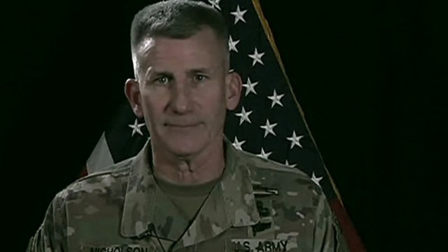 Army Gen. John W. Nicholson, commander of NATO's Resolute Support mission and commander of U.S. Forces-Afghanistan, briefs Pentagon reporters via satellite on Afghanistan operations, Nov. 20, 2017.