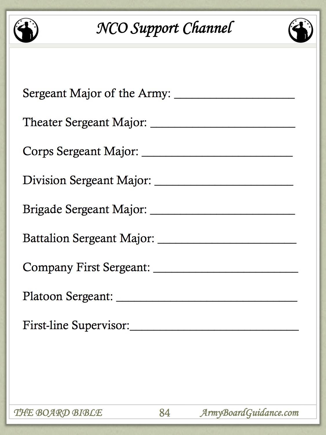 Nco Support Channel Worksheet