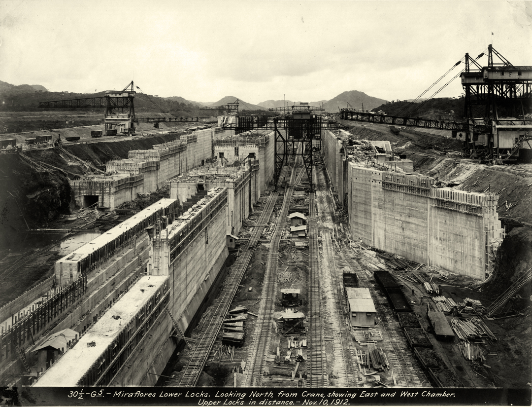 Image result for photos of panama canal locks construction