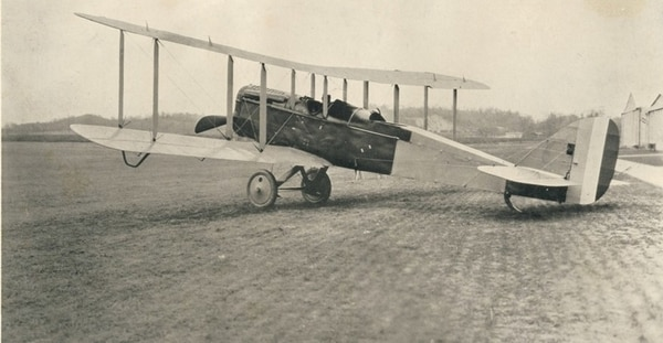 Built in the United States, an Airco DH.4 British two-seat biplane day bomber with a Liberty L-12 engine installed. (National Park Service)