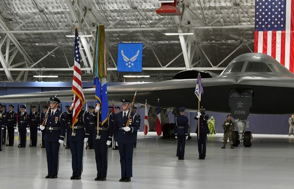 Air Force color guard presents the colors during Air Force Secretary Heather Wilson's farewell ceremony at Joint Base Andrews, Maryland, Tuesday. (Wayne Clark/Air Force)