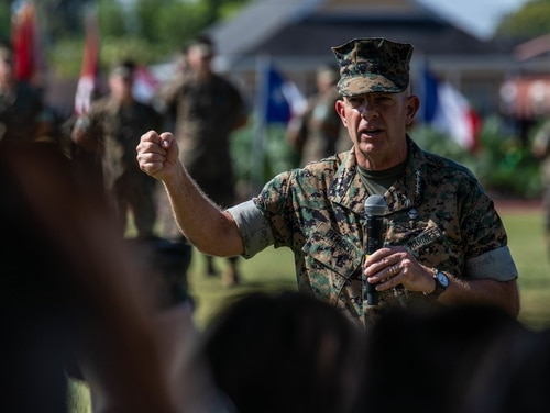 Gen. David H. Berger, commandant of the Marine Corps, speaks to attendees during a change of command ceremony at Marine Corps Support Facility New Orleans, Sept. 4, 2019. (Pfc. Leslie Alcaraz/Marine Corps)