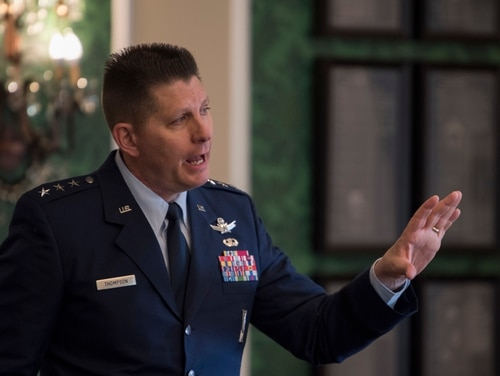 Space Systems Command will be launched sooner rather than later, says Space Force Vice Commander Lt. Gen. David Thompson, as the Space Force finalizes plans to absorb space-related organizations from the other services. (Dave Grim/U.S. Air Force)