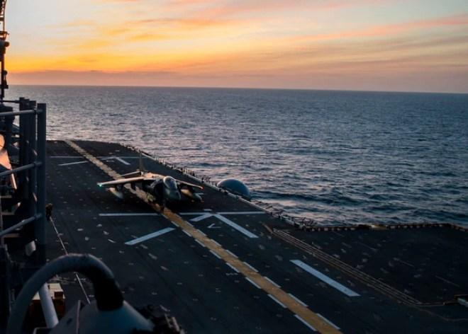 An AV-8B Harrier II jet takes off from the flight deck on the amphibious assault ship USS Iwo Jima (LHD 7), Feb. 9, 2018, in the Atlantic Ocean. (Mass Communication Specialist 3rd Class Joe J. Cardona Gonzalez/Navy)