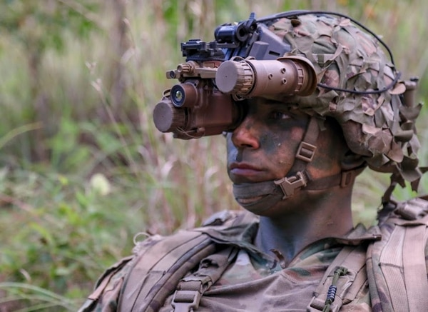 The recently fielded Enhanced Night Vision Goggl- Binocular gives soldiers night vision depth perception, thermal vision and rapid target acquisition in one device. (Army)
