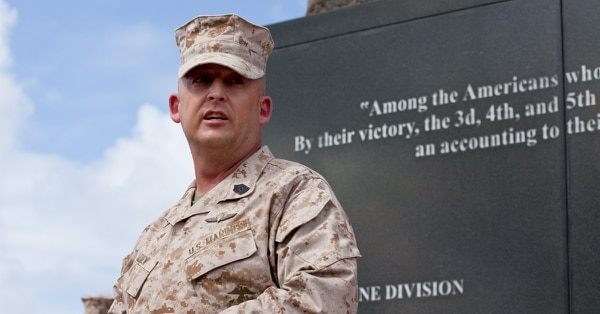 Marine Corps Sergeant Major Justin D. Lehew speaks at brick laying ceremony held in honor of three Marines at the Pacific War Memorial aboard Marine Corps Base Hawaii, Kaneohe Bay, on July 18, 2013.(Lance Cpl. Aaron S. Patterson/Marine Corps)