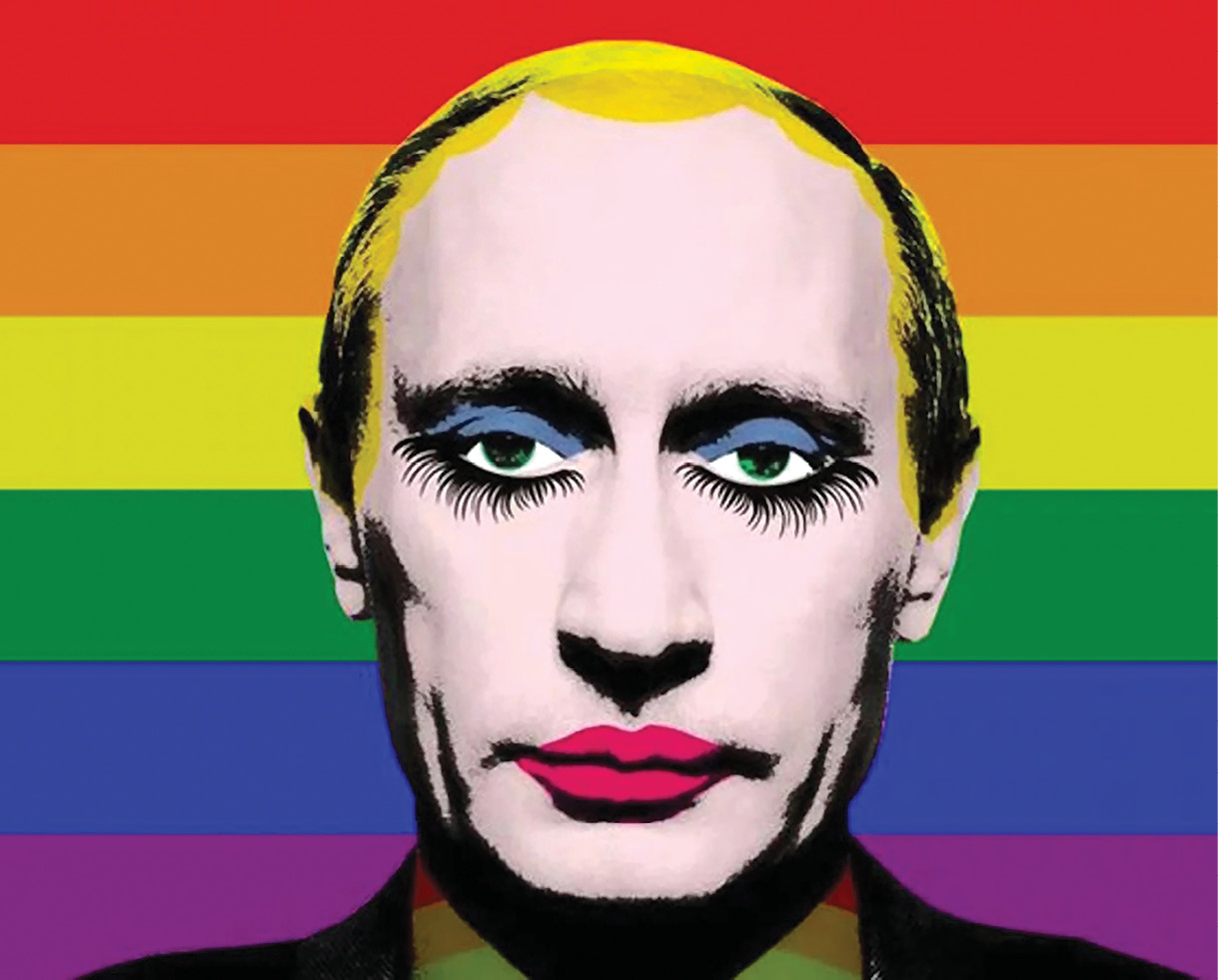 "Vladimir Putin officially banned this popular meme of himself with his face painted in drag. That reaction inadvertently made the meme more popular than ever, and it became an international sensation. According to the author of this article, Putin's ""thin skin"" makes him an easy target for ridicule.  (Artist unknown)"