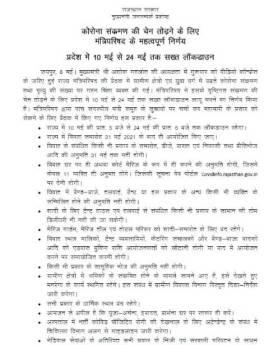 राजस्थान में 10 से 24 मई तक सख्त लॉकडाउन लागू