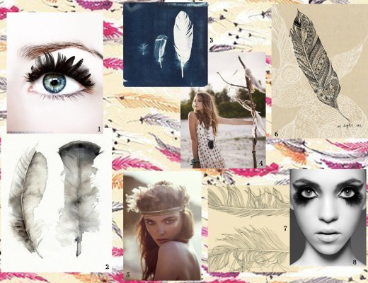 feather and fashion mood board