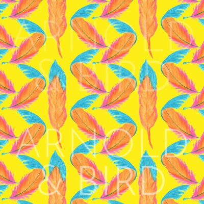 Yellow tropical two feather repeat pattern