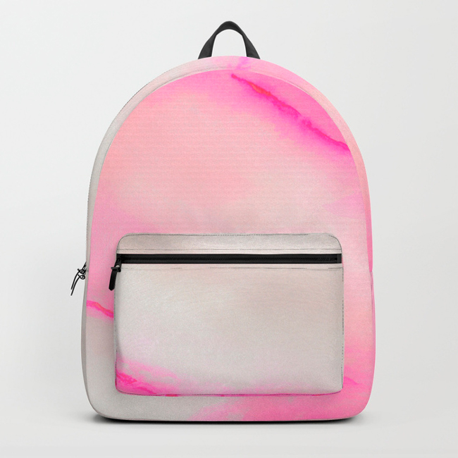Millennial Pink & Grey Watercolour rucksack by Arnold & Bird on Society6