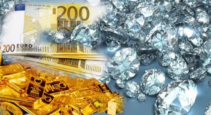 Pieniądze, diamenty, złoto