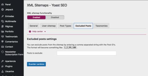 configuracion yoast excluded posts