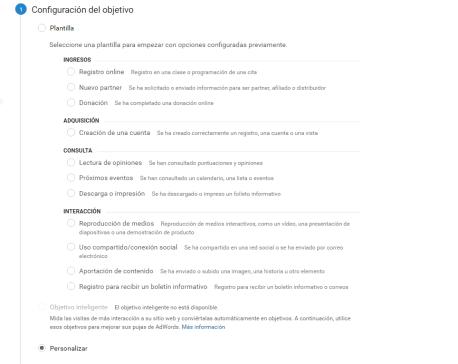 google analytics objetivos personalizados
