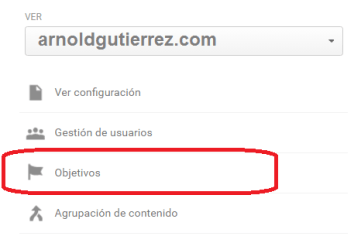 google analytics objetivos