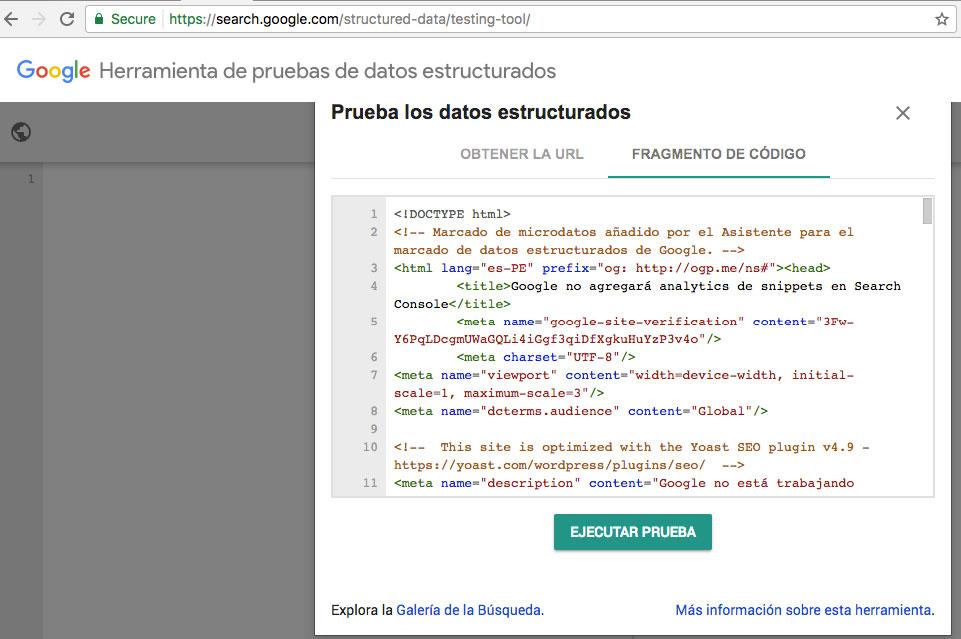herramienta prueba datos estructurados codigo