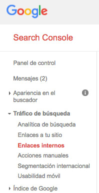 enlaces internos google search console