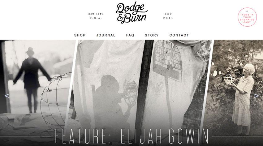 dodge burn diseño web minimalista