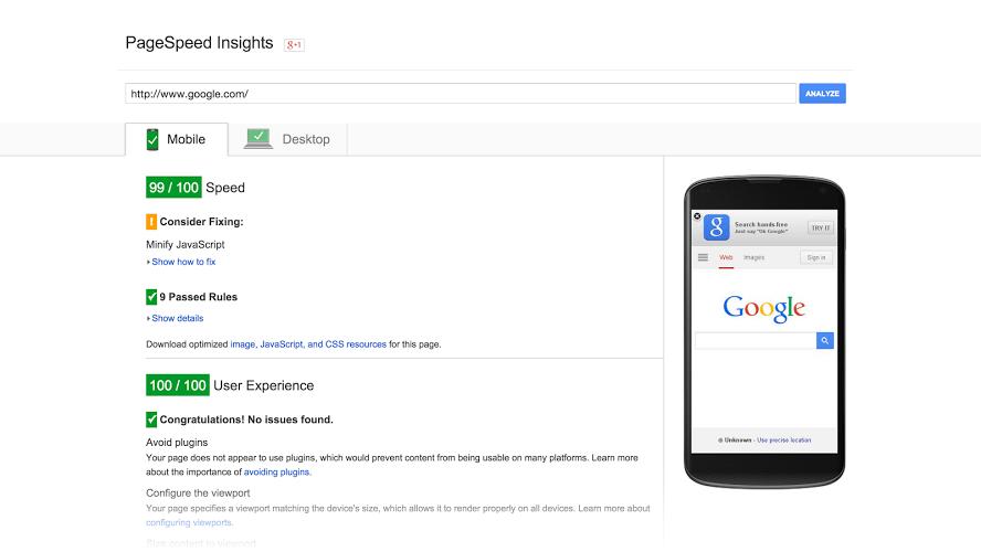 herramienta rendimiento velocidad google page speed