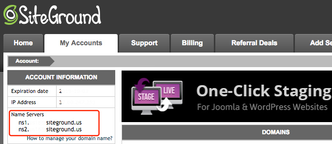 nombre servidores siteground