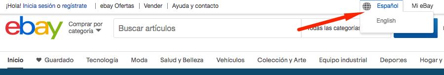 cambiar idioma ebay