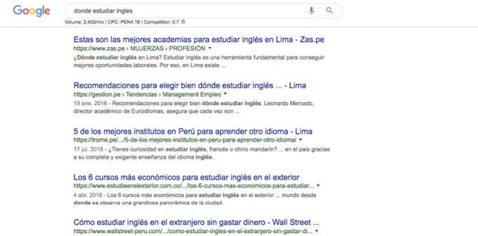 donde estudiar ingles buscar google