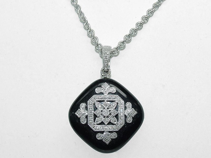 Men's Black Onyx Diamond Pendant