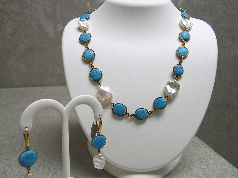 gold over sterling silver turquoise and freshwater pearl necklace and earrings