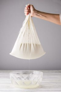 traditional yogurt gravity bag straining