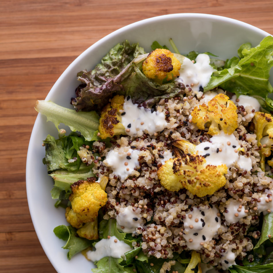 roasted cauliflower yogurt salad