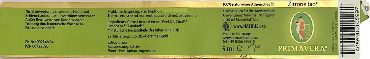 Etikett ätherisches Öl als Kosmetikum