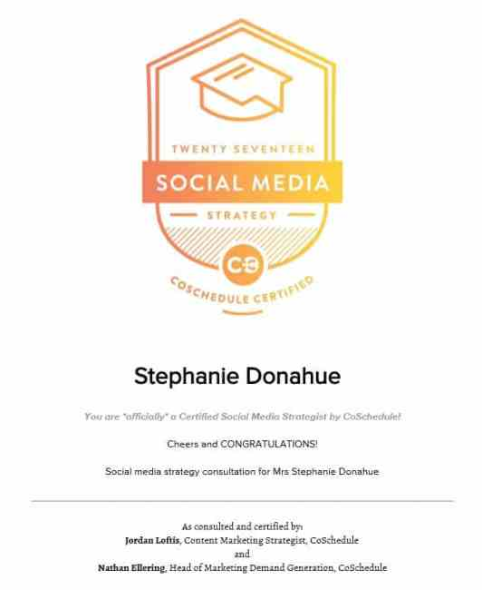 Social Media Strategy Certified by CoSchedule