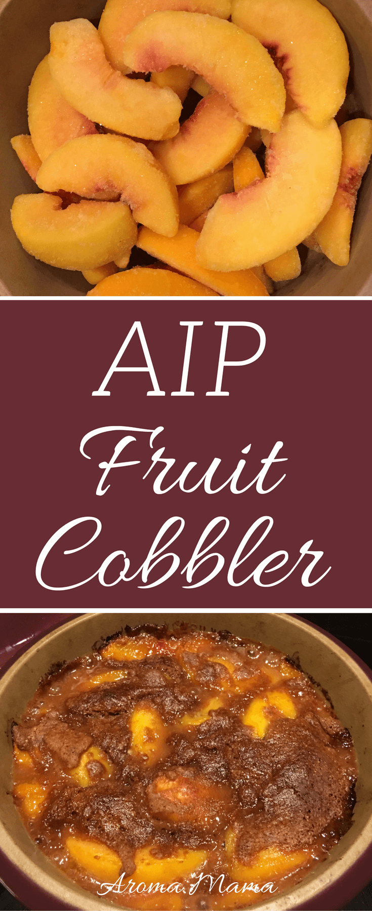 A fruit cobbler recipe that is AIP or Autoimmune Paleo compliant. Use your favorite fruit of choice. My favorites are peaches and blueberries! It's a dessert or healthy snack and kid-approved.