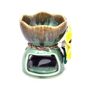 เตาอโรม่า เซรามิค ศิลาดล สีเขียว ประดับดอกหน้าวัว CF03