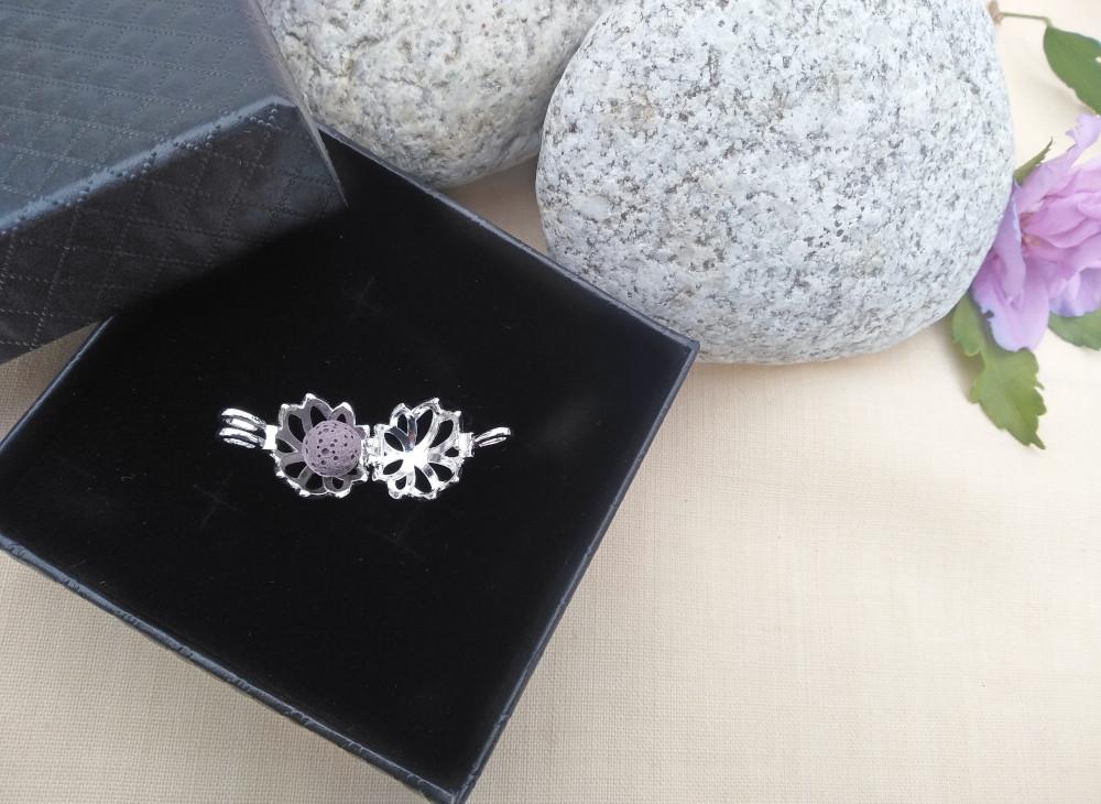 Aroma šperk kvet lotos maly postriebrený otvorený