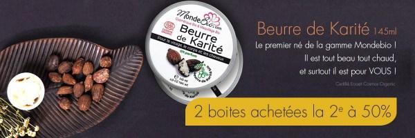 Profitez de 50% de remise sur le 2ème acheté beurre de karité bio Monde bio !