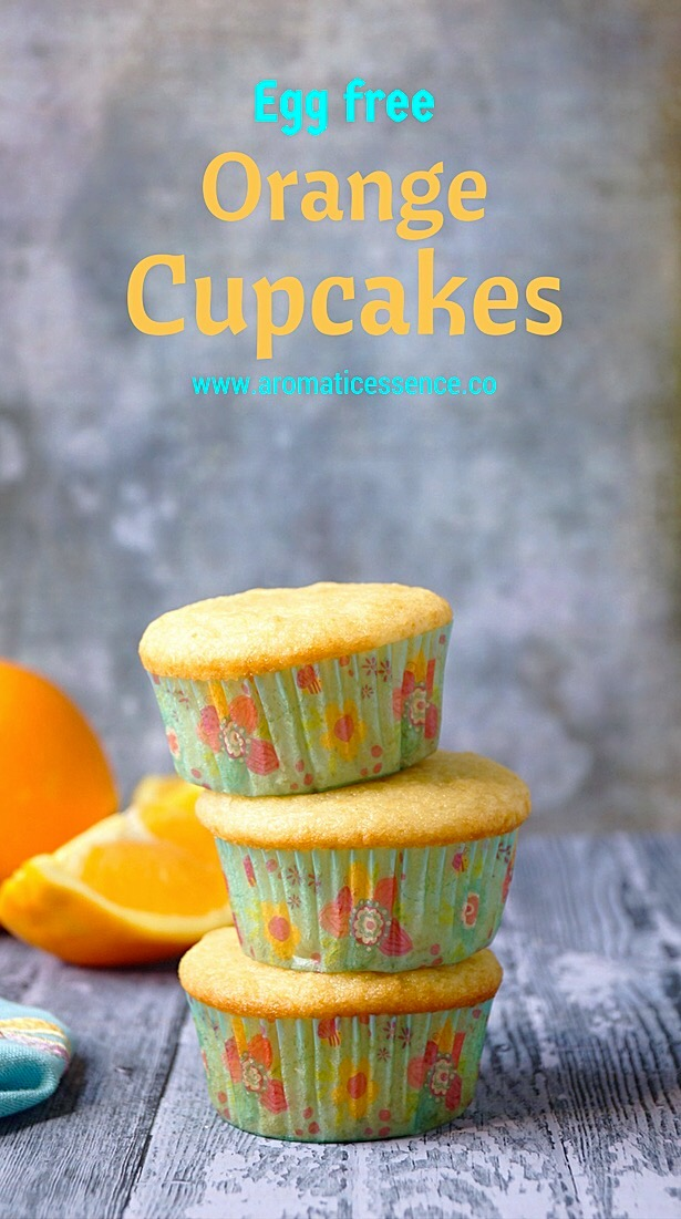 Egg-free Orange cupcakes | Eggless Orange cupcakes