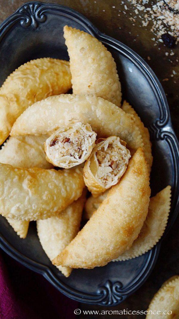 Neureos Karanji Flaky Pastry Stuffed With Sweet Coconut
