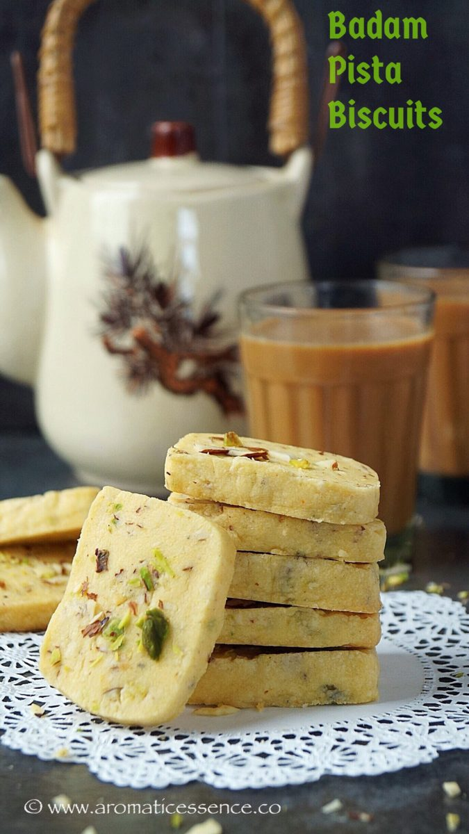 Eggless badam pista biscuits | Eggless  Indian almond & pistachios cookies