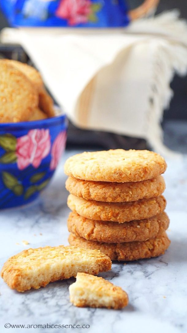 Eggless Coconut Cookies Recipe | Indian Style Crispy Coconut Biscuits