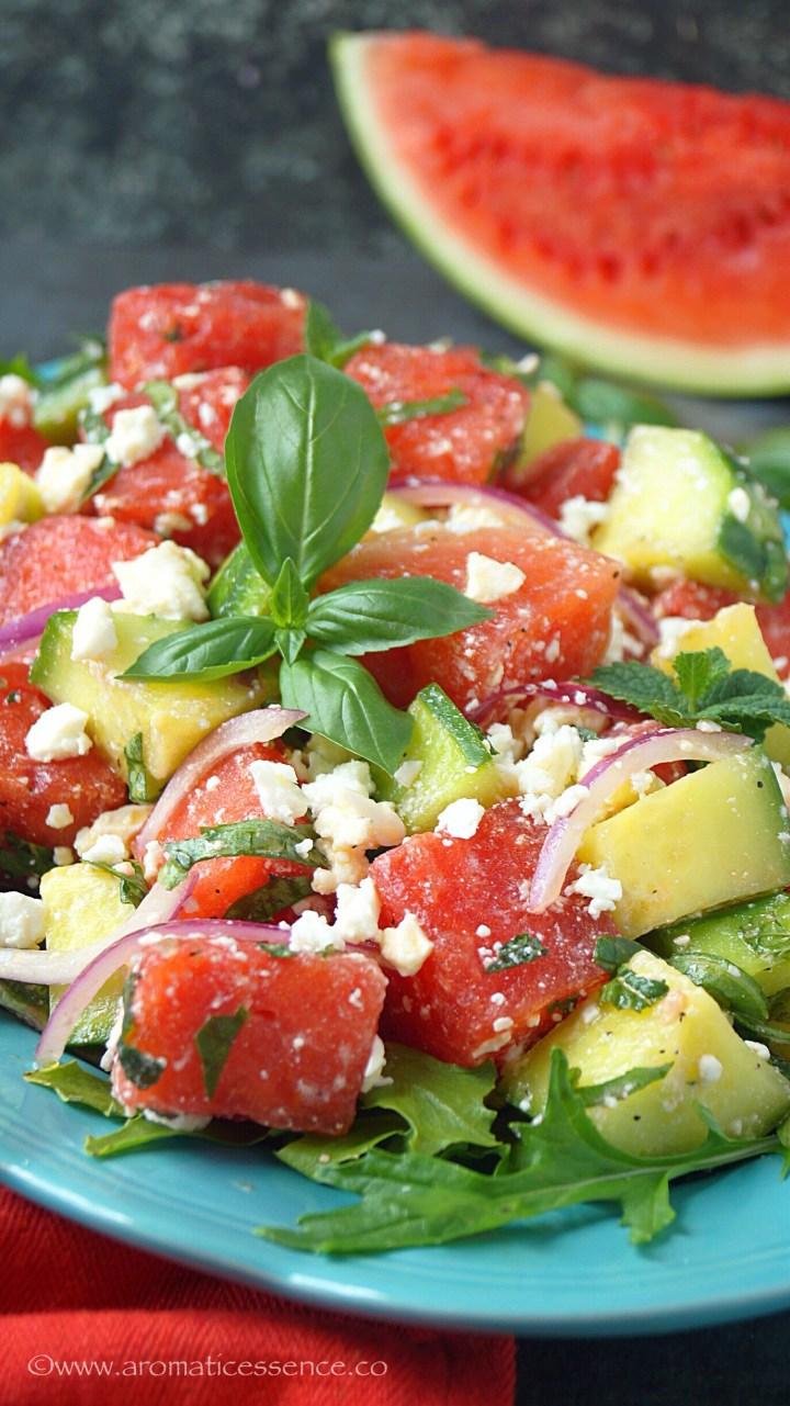 Watermelon Cucumber Feta Salad | Watermelon Salad
