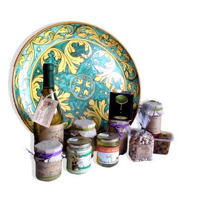 cesta regalo piatto ceramica decorato a mano