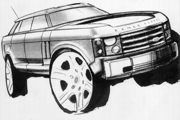 Upex and Wyatt invited a variety of designers to submit proposals for how they thought a new Range should look. As well as the Land Rover styling department, BMW and DRA (Design Research Associates) were asked for ideas. This sketch by Phil Simmons not only drew on the original Range Rover as an inspiration, but also the Riva Speedboat (flanks, proportions).