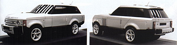 Phil Simmons' concept in clay - a thirty per cent model of the design sketch depicted at the top of the page. This was easily the most popular of the 12 models that were submitted to management, and this can easily be identified as the first step in the process that led to the 2001 Range Rover.