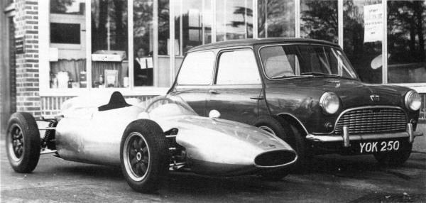 The 1961 Formula Junior MK2 prototype pictured alongside YOK 250. Presumably YOK 250 is also the car Aurelio Lampredi took for his long excursion at Monza in 1959? (Picture: Ian Nicholls)
