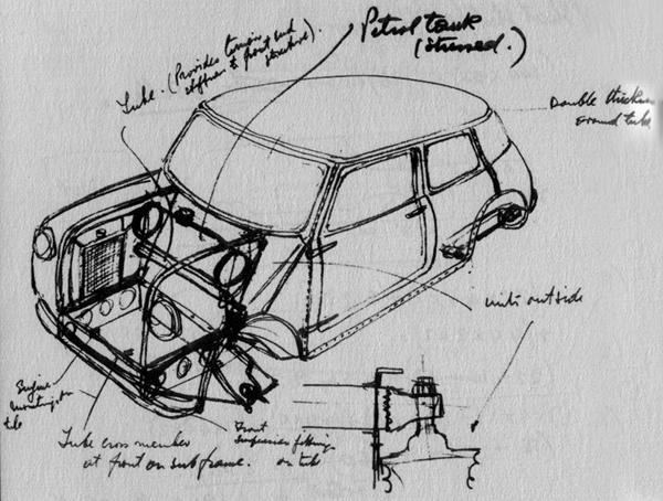 These early Issigonis sketches (above, below) show how clearly he had the Mini concept worked out in his mind, although practical and safety considerations would see some elements – such as the location of the petrol tank ahead of the bulkhead – change before the car entered production.
