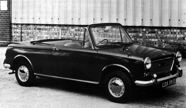The Jensen-converted Austin 1100 Countryman. Slotted chrome trim-rings on the wheels, along with rear bumper and overriders borrowed from the Vanden Plas Princess, help to give the car a more upmarket appearance.