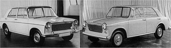 Nearly there: In January 1959, Pininfarina were asked to develop the XC9002 – their initial effort (left)  was a rather bluff-fronted proposal and was rejected by BMC because it would prove needlessly complex  (look at the tops of the doorframes, for instance) and therefore, expensive to produce. On the right, the  second Pininfarina proposal of what is now known as the ADO16, which eventually was given the nod for  production by higher management. The front styling treatment was offered in two forms and it was this  version that would prove to offer the best final solution.
