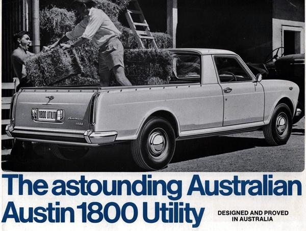 """""""Utes"""" (or pick-up trucks) have long been popular in Australia, and in the Fifties and Sixties, a variety of familiar British saloons were redesigned and produced locally to serve this market. Indeed, the Austin 1800 Utility (to give it its official name) was introduced in 1968 to replace the locally-produced A55 Utility. The 1800 Ute remained in production until 1971, during which time well over 2000 were built. They continue to have a following in Australia today, with some having been restored to a very high standard, while others simply continue to earn their keep.""""Utes"""" (or pick-up trucks) have long been popular in Australia, and in the Fifties and Sixties, a variety of familiar British saloons were redesigned and produced locally to serve this market. Indeed, the Austin 1800 Utility (to give it its official name) was introduced in 1968 to replace the locally-produced A55 Utility. The 1800 Ute remained in production until 1971, during which time well over 2000 were built. They continue to have a following in Australia today, with some having been restored to a very high standard, while others simply continue to earn their keep."""